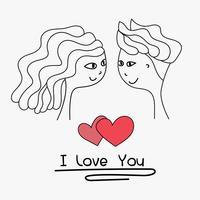 Jag älskar dig typografi. Kort av söt par. Doodle pojke och flickvän härlig tillsammans bröllopskort. Handgjord vektorillustration.
