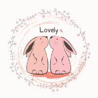 Söt kanin och fjäril. Tecknad handritad vektor illustration