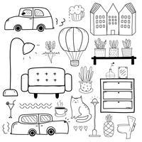 Handdragen Doodle Vector Set. Vektor illustration.
