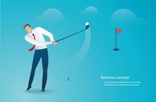 Geschäftsmann, der Golfvektorillustration fährt