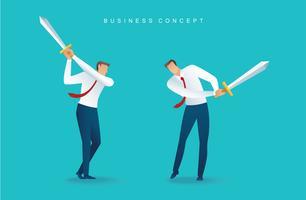 Geschäftsmann Charakter Schwert halten