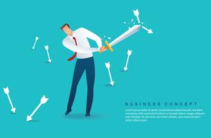 Affärsman som håller svärd för att skydda pilen ner