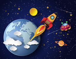 Weltraumraketenstart. vektor