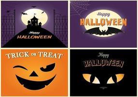 spöklikt Halloween kort vektor pack