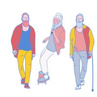 Mann geht. Hand gezeichnete Artvektor-Designillustrationen