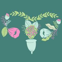 kvinnors menstruationskupa med blommor i handdrawn stil. Lettering-Jag älskar min kopp