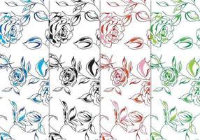 Handgemalter Blumenvektor-Hintergrund-Satz