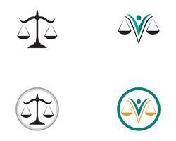 Rättvisa advokatlogo och symboler mallikoner app vektor