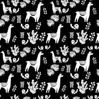 Illustration med lama och kaktus växter. Vektor sömlösa mönster på botanisk bakgrund. Hälsningskort med Alpaca. Sömlöst mönster