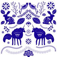 Gulliga magiska enhörningar på en blom bakgrund. Vektor Romantisk handritning illustration