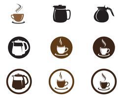 Kaffekopp Logo Mall vektor ikon design