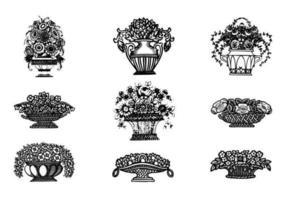Handdragen blommvektorer i vaser