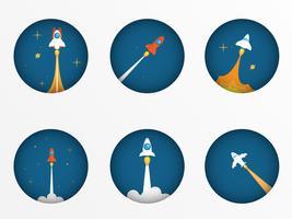 Raketenstart-Startkonzept vektor
