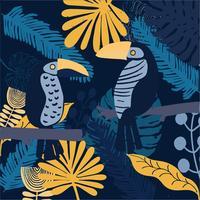 tropiska fåglar Toucan färgglada och ljusa vektor