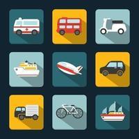 Schattenhafte Transport-Vektor-Icons