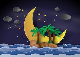Ön i midnatt med halvmåne vektor