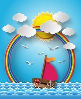 Segelboot und Wolke mit Regenbogen.