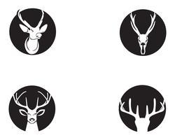 Huvud hjortdjur logo svart silhouete ikoner vektor