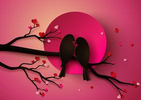 fågel i kärlek vektor