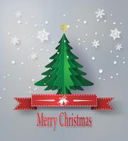God jul hälsningkort med origami gjort julgran vektor