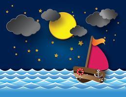 Vektor av segelbåt och fyr på natten.