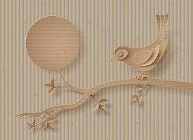 Vogel thront auf einem Ast eines Baumes. vektor