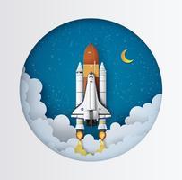 Raumfähre, die auf einer Mission startet