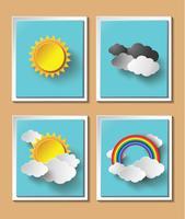 Abstraktes Papierwetter mit Sonnen- und Wolkenmotiv