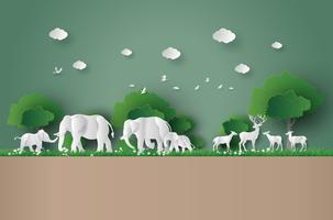 ekokoncept och World Wildlife Day vektor