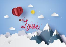 Papierkunstkonzept des Valentinstags