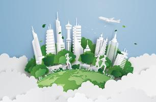 grön stad på himlen vektor