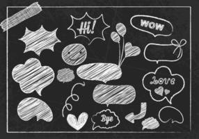 Kreide gezeichnete Spracheblase und Gekritzel-Vektor-Satz