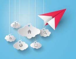 Pappersplan som flyger på himmel. vektor
