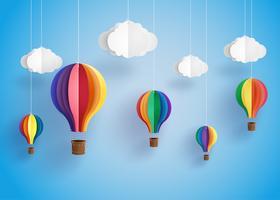 bunter Heißluftballon und Wolke. vektor