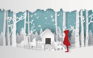 Wintersaison mit dem Mädchen
