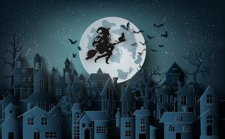 Hexe, die ein Besenfliegen im Himmel über dem verlassenen Dorf reitet
