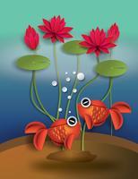 Orange guldfisk med bobblommor och lotus vektor