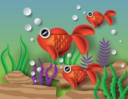 Orange guldfisk med bobblor vektor