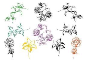Handgemalter Blumenvektor-Satz