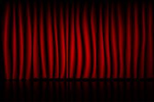 Roter Vorhang-Theater-Szenen-Stadiums-Hintergrund. Hintergrund mit luxuriösem Seidensamt. vektor