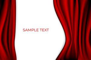 Roter Vorhang-Theater-Szenen-Stadiums-Hintergrund. Hintergrund mit Luxus Seidensamt. Weißer Copyspace. vektor