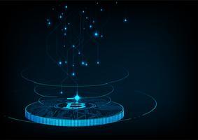 Abstraktes futuristisches digitales Geld mit digitaler Währung Logo bitcoin.