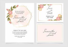 Vektor-Blumenhochzeits-Einladungs-Schablone