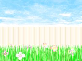 Trädgårdsarbete staket en bakgård med blå himmel. vektor