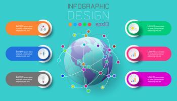 Sex etiketter med företagsymbol och världskarta vid centrala infographics.