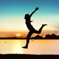 Glückliches springendes Mädchen, auf Schattenbildkunst. vektor