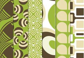 Grön Retro Funky Vector Pattern Pack