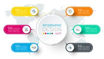 Sechs Kreise mit Business Icon Infografiken. vektor