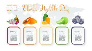 Fruchtansammlung für Weltgesundheitstag.