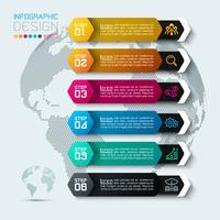 Sechs Etiketten mit Business-Symbol Infografiken.